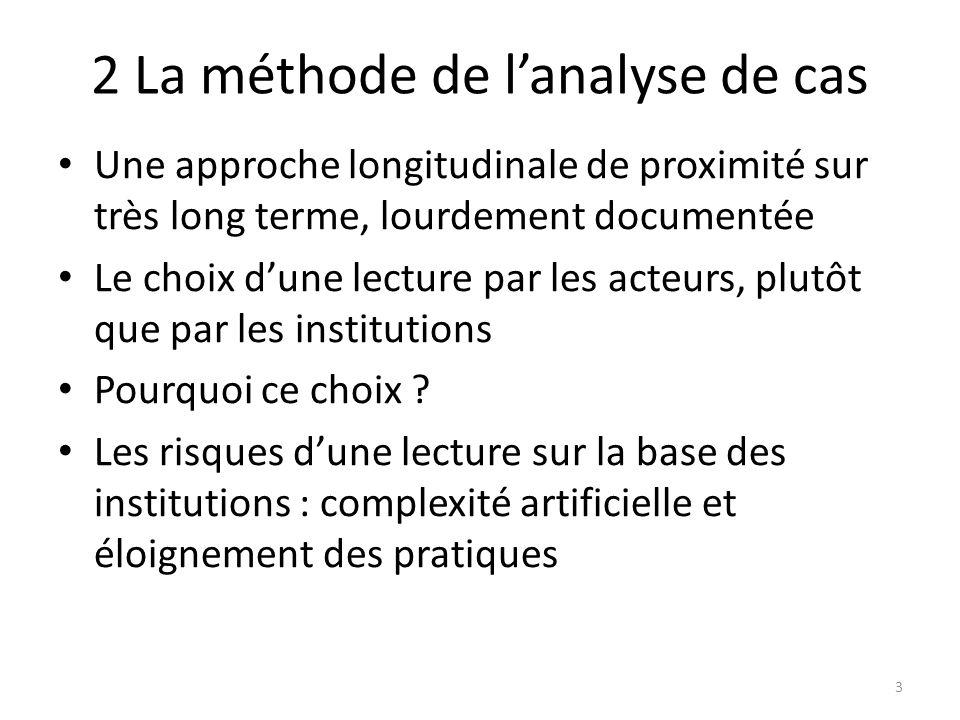 2 La méthode de lanalyse de cas Une approche longitudinale de proximité sur très long terme, lourdement documentée Le choix dune lecture par les acteurs, plutôt que par les institutions Pourquoi ce choix .