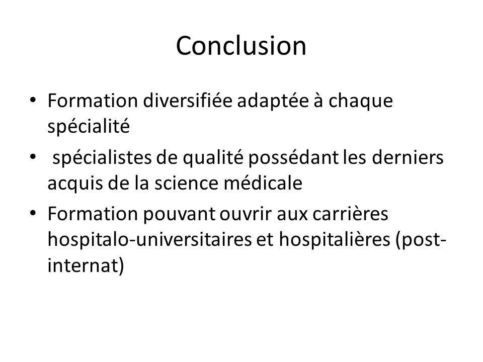 Conclusion Formation diversifiée adaptée à chaque spécialité spécialistes de qualité possédant les derniers acquis de la science médicale Formation po