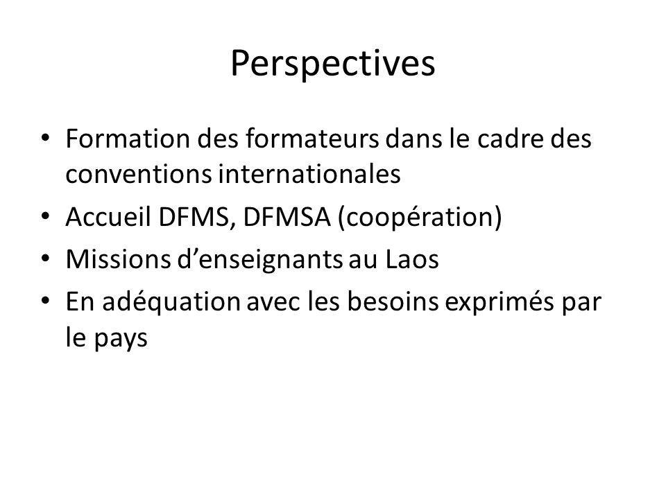 Perspectives Formation des formateurs dans le cadre des conventions internationales Accueil DFMS, DFMSA (coopération) Missions denseignants au Laos En