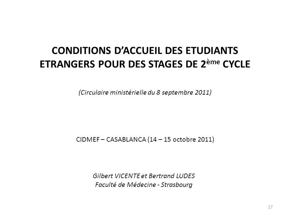 CONDITIONS DACCUEIL DES ETUDIANTS ETRANGERS POUR DES STAGES DE 2 ème CYCLE (Circulaire ministérielle du 8 septembre 2011) CIDMEF – CASABLANCA (14 – 15
