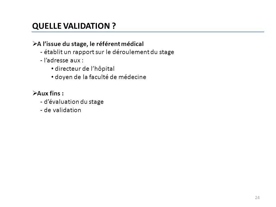 24 QUELLE VALIDATION ? A lissue du stage, le référent médical - établit un rapport sur le déroulement du stage - ladresse aux : directeur de lhôpital