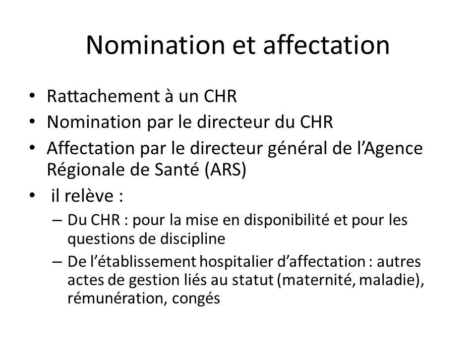 Nomination et affectation Rattachement à un CHR Nomination par le directeur du CHR Affectation par le directeur général de lAgence Régionale de Santé