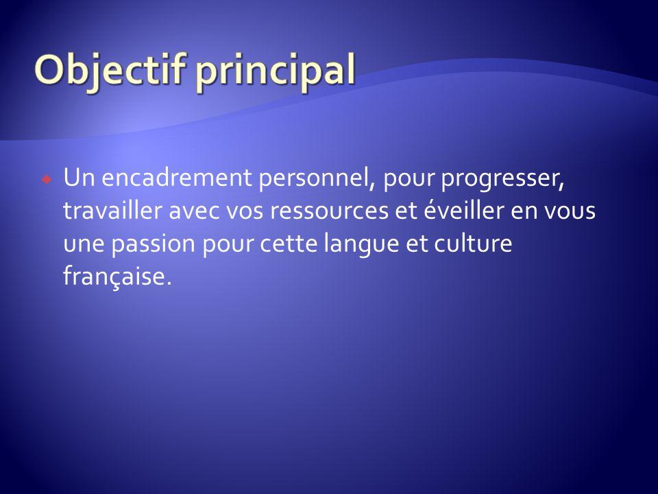 Un encadrement personnel, pour progresser, travailler avec vos ressources et éveiller en vous une passion pour cette langue et culture française.