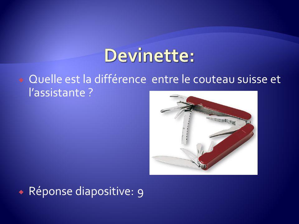 Quelle est la différence entre le couteau suisse et lassistante ? Réponse diapositive: 9