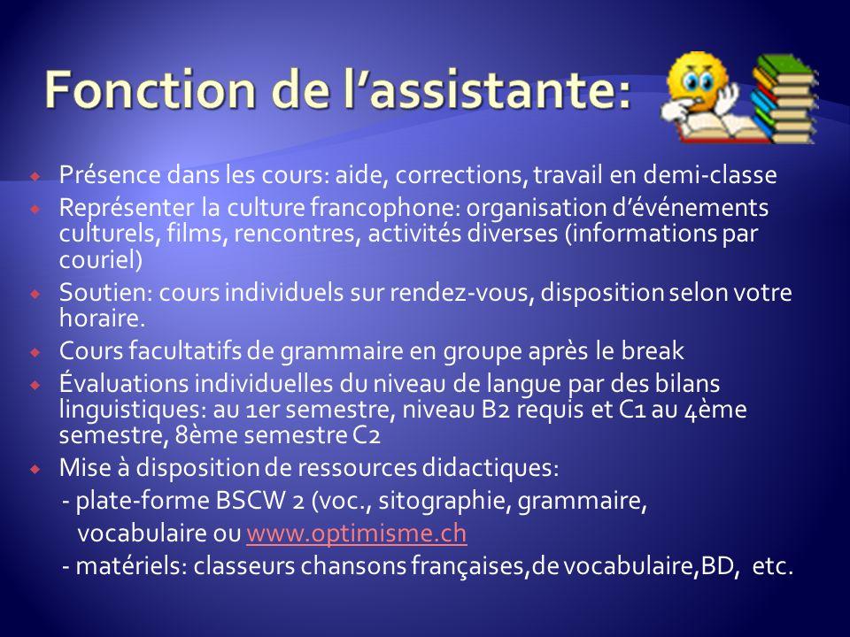 Présence dans les cours: aide, corrections, travail en demi-classe Représenter la culture francophone: organisation dévénements culturels, films, renc