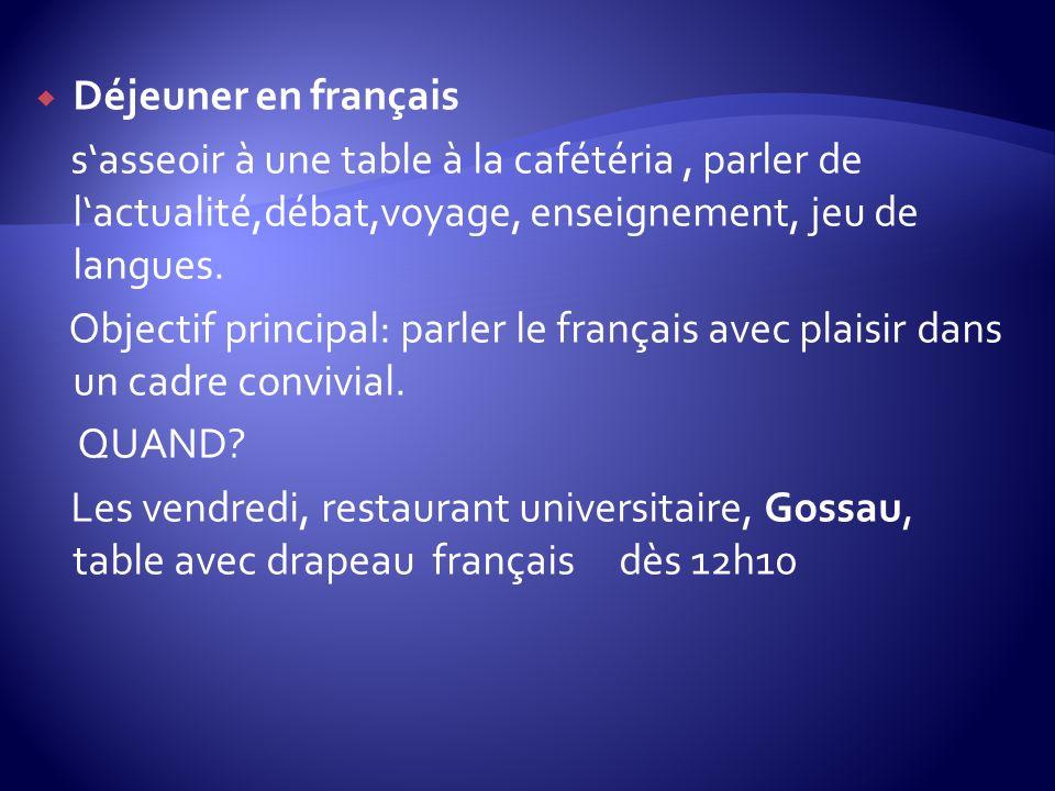 Déjeuner en français sasseoir à une table à la cafétéria, parler de lactualité,débat,voyage, enseignement, jeu de langues. Objectif principal: parler