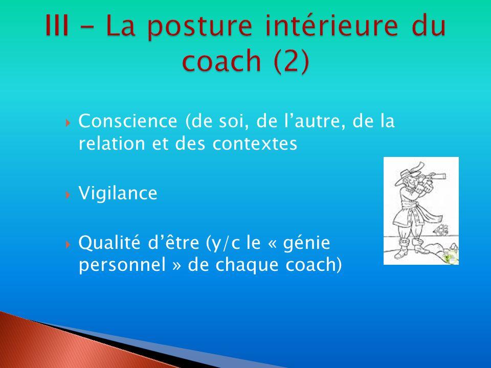 Conscience (de soi, de lautre, de la relation et des contextes Vigilance Qualité dêtre (y/c le « génie personnel » de chaque coach)