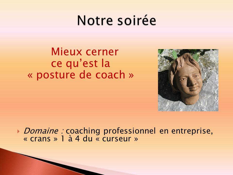 Mieux cerner ce quest la « posture de coach » Domaine : coaching professionnel en entreprise, « crans » 1 à 4 du « curseur »