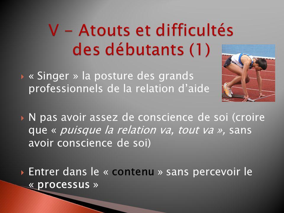 « Singer » la posture des grands professionnels de la relation daide N pas avoir assez de conscience de soi (croire que « puisque la relation va, tout