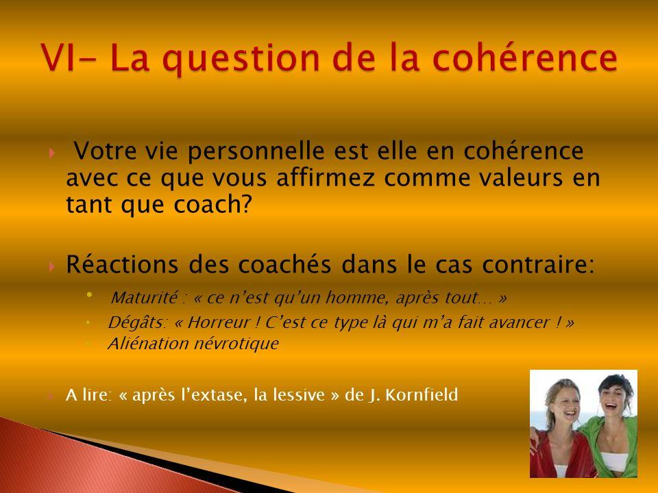 Votre vie personnelle est elle en cohérence avec ce que vous affirmez comme valeurs en tant que coach? Réactions des coachés dans le cas contraire: Ma