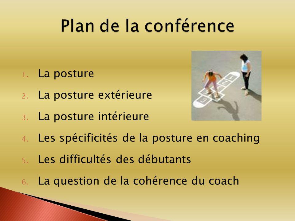 1. La posture 2. La posture extérieure 3. La posture intérieure 4. Les spécificités de la posture en coaching 5. Les difficultés des débutants 6. La q