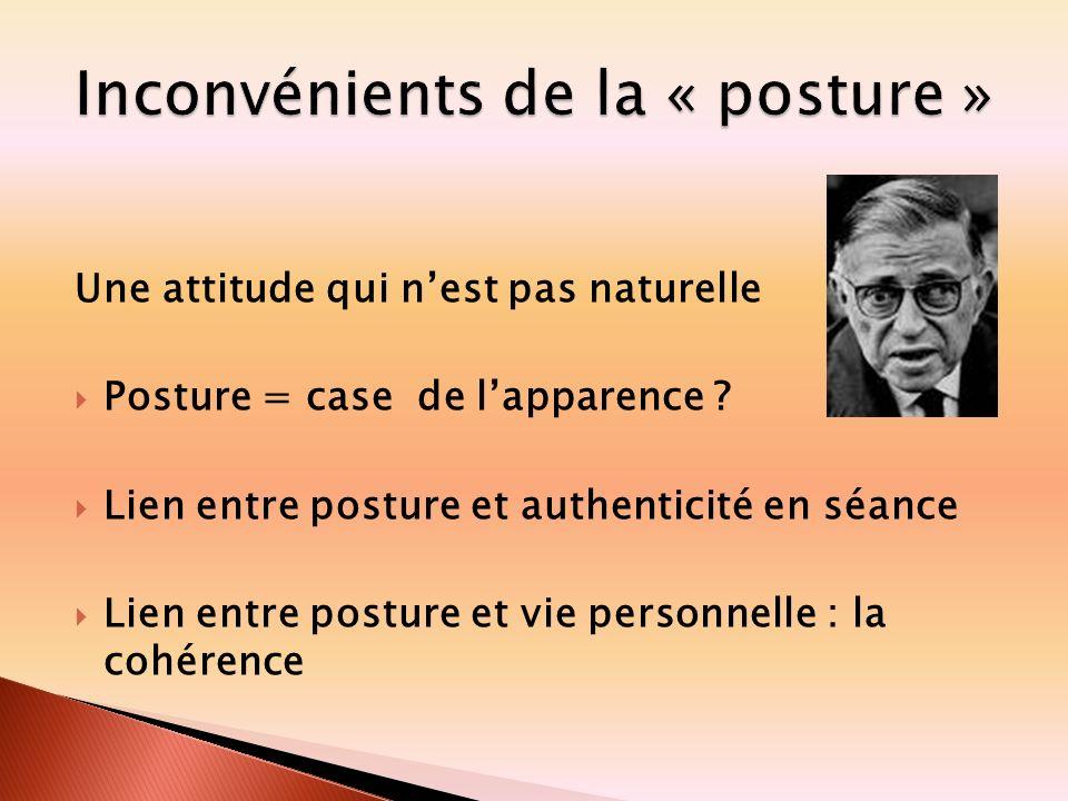 Une attitude qui nest pas naturelle Posture = case de lapparence ? Lien entre posture et authenticité en séance Lien entre posture et vie personnelle