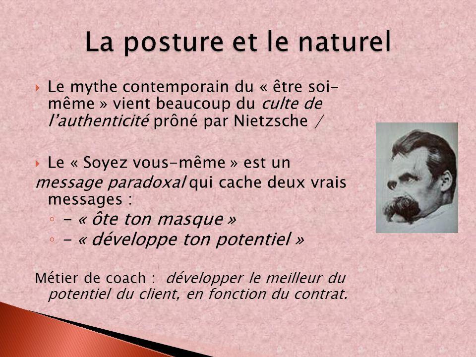 Le mythe contemporain du « être soi- même » vient beaucoup du culte de lauthenticité prôné par Nietzsche / Le « Soyez vous-même » est un message parad