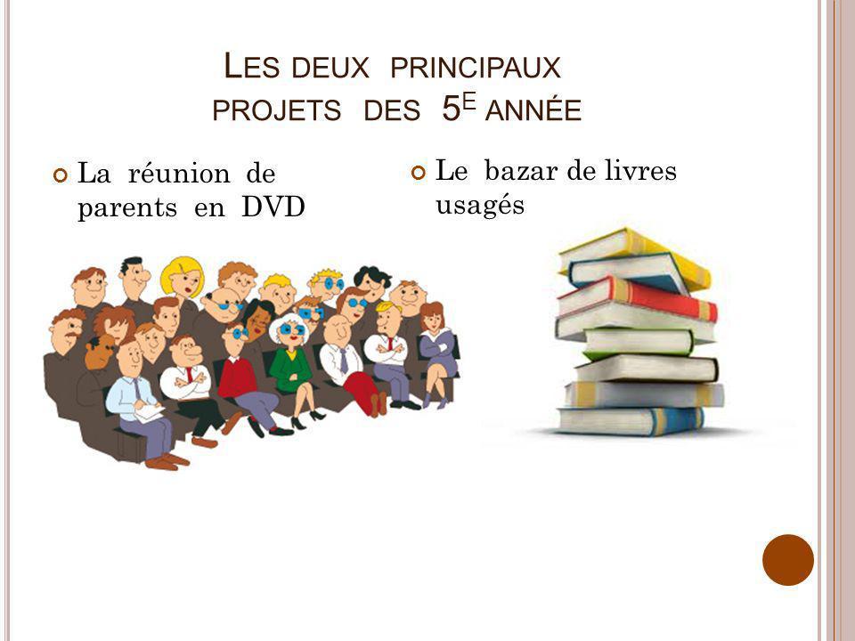 L ES DEUX PRINCIPAUX PROJETS DES 5 E ANNÉE La réunion de parents en DVD Le bazar de livres usagés
