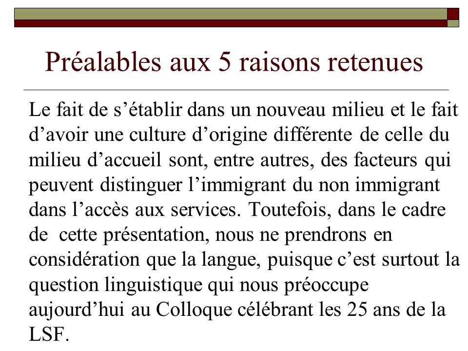 Préalables aux 5 raisons retenues (suite) En ne prenant en compte que la langue, les points que nous soulevons ici valent aussi bien pour les immigrants que pour les non immigrants francophones.