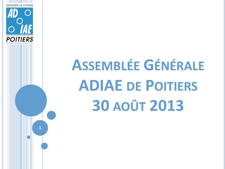 A SSEMBLÉE G ÉNÉRALE ADIAE DE P OITIERS 30 AOÛT 2013 1