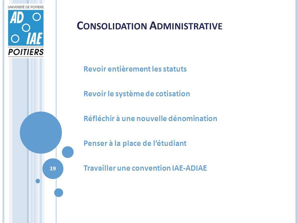 C ONSOLIDATION A DMINISTRATIVE Revoir entièrement les statuts Revoir le système de cotisation Réfléchir à une nouvelle dénomination Penser à la place de létudiant Travailler une convention IAE-ADIAE 19