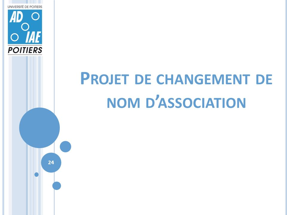 P ROJET DE CHANGEMENT DE NOM D ASSOCIATION 24