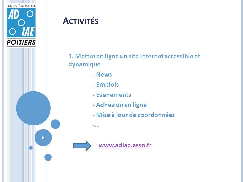 A CTIVITÉS 1. Mettre en ligne un site Internet accessible et dynamique - News - Emplois - Evènements - Adhésion en ligne - Mise à jour de coordonnées