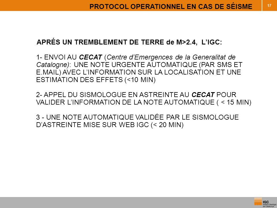 PROTOCOL OPERATIONNEL EN CAS DE SÉISME 17 APRÉS UN TREMBLEMENT DE TERRE de M>2.4, LIGC: 1- ENVOI AU CECAT (Centre dEmergences de la Generalitat de Cat