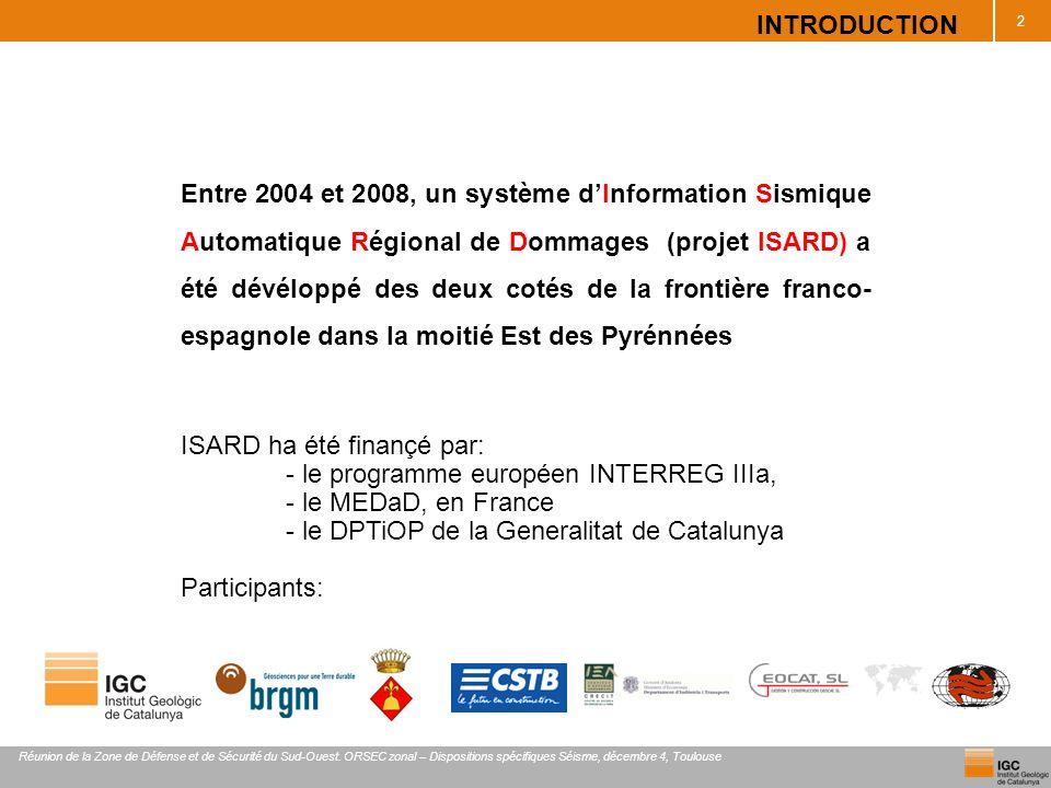 RÉSEAU SISMIQUE ISARD- 2009