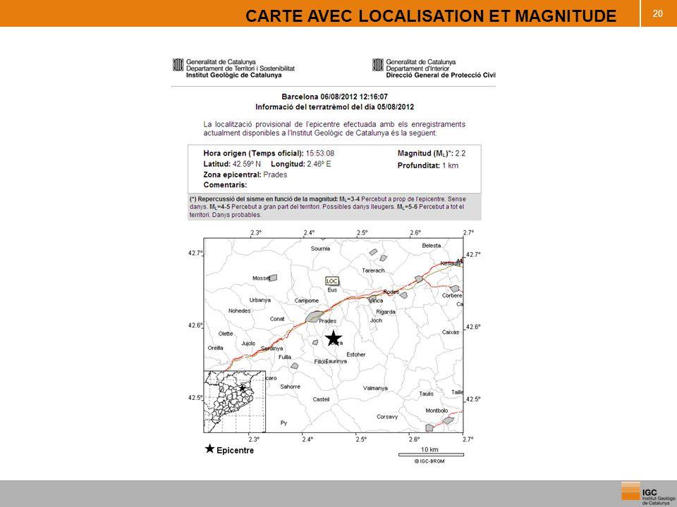 CARTE AVEC LOCALISATION ET MAGNITUDE 20