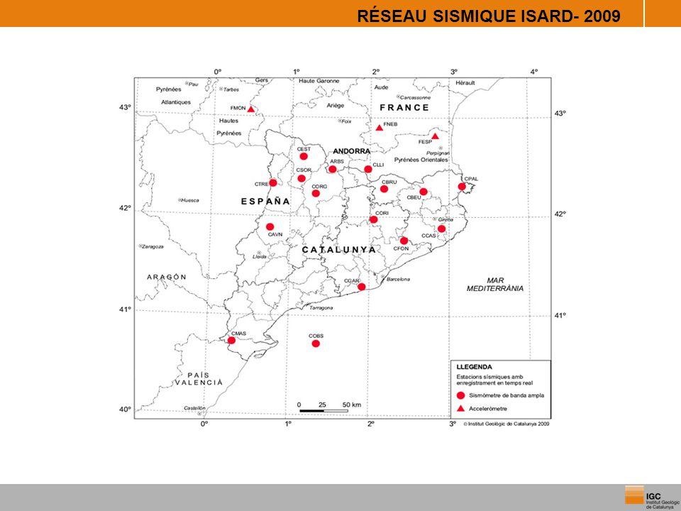 RÉSEAU SISMIQUE TEMPS RÉEL- 2012 4 Projet SISPYR -Incorporation des données en temps réel de : - 4 stations en France (OMP) - 5 stations en Espagne (IGN) -Actuellement 26 stations interviennent en DAS