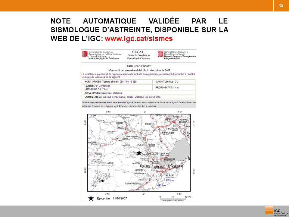 30 NOTE AUTOMATIQUE VALIDÉE PAR LE SISMOLOGUE DASTREINTE, DISPONIBLE SUR LA WEB DE LIGC: www.igc.cat/sismes