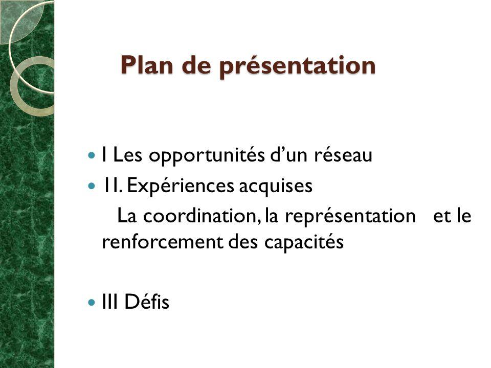 Plan de présentation I Les opportunités dun réseau 1I.