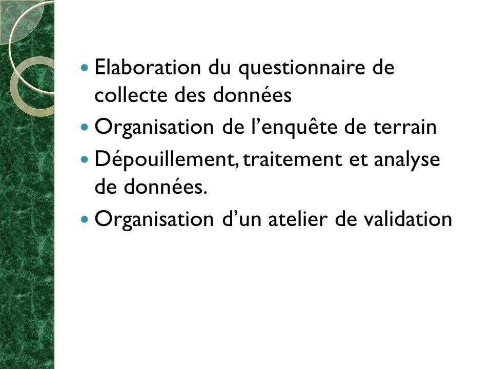 Elaboration du questionnaire de collecte des données Organisation de lenquête de terrain Dépouillement, traitement et analyse de données.