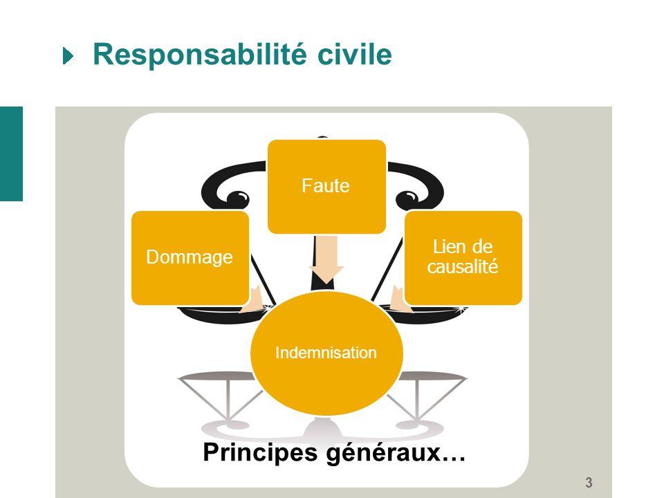 Responsabilité civile 3 Indemnisation DommageFaute Lien de causalité Principes généraux…