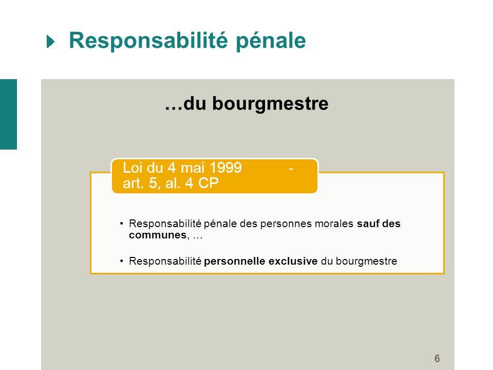Responsabilité pénale 6 …du bourgmestre Responsabilité pénale des personnes morales sauf des communes, … Responsabilité personnelle exclusive du bourg