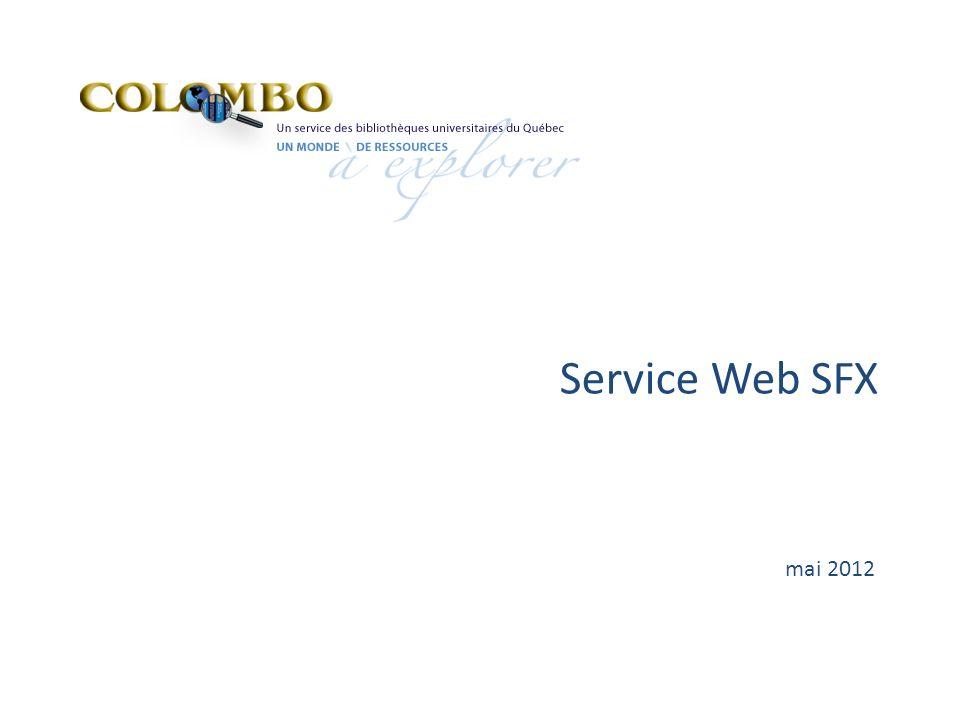 Service Web SFX mai 2012