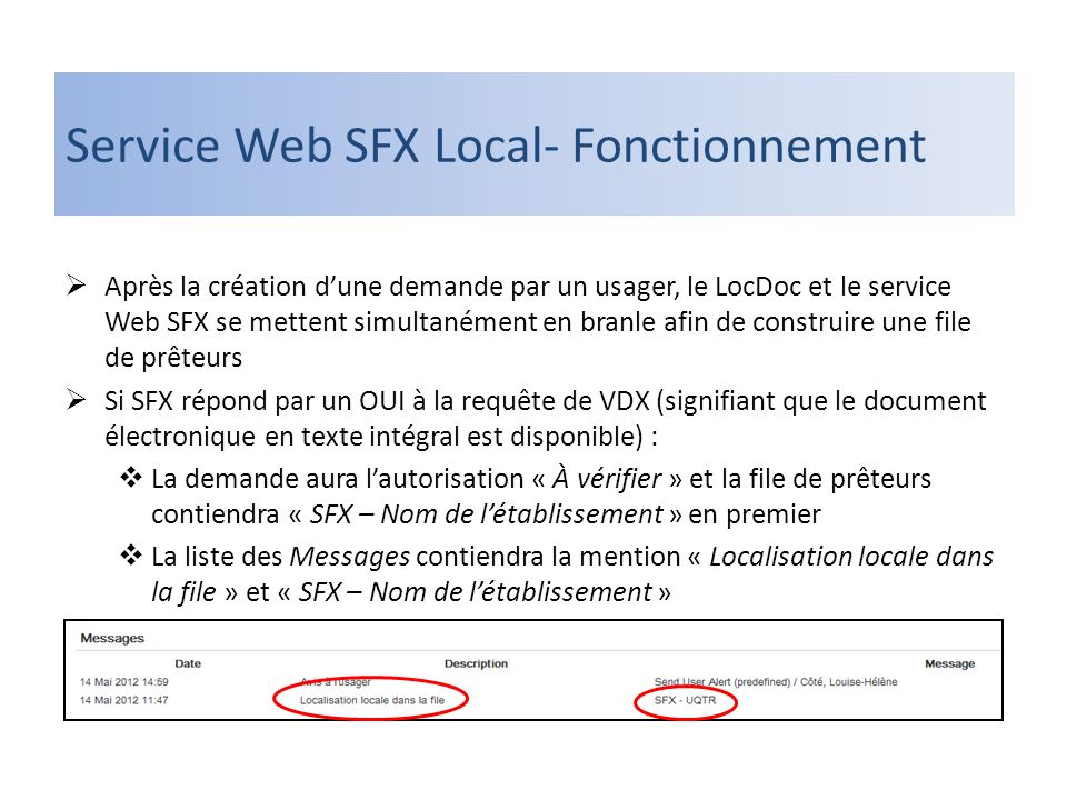 Service Web SFX Local- Fonctionnement Après la création dune demande par un usager, le LocDoc et le service Web SFX se mettent simultanément en branle afin de construire une file de prêteurs Si SFX répond par un OUI à la requête de VDX (signifiant que le document électronique en texte intégral est disponible) : La demande aura lautorisation « À vérifier » et la file de prêteurs contiendra « SFX – Nom de létablissement » en premier La liste des Messages contiendra la mention « Localisation locale dans la file » et « SFX – Nom de létablissement »