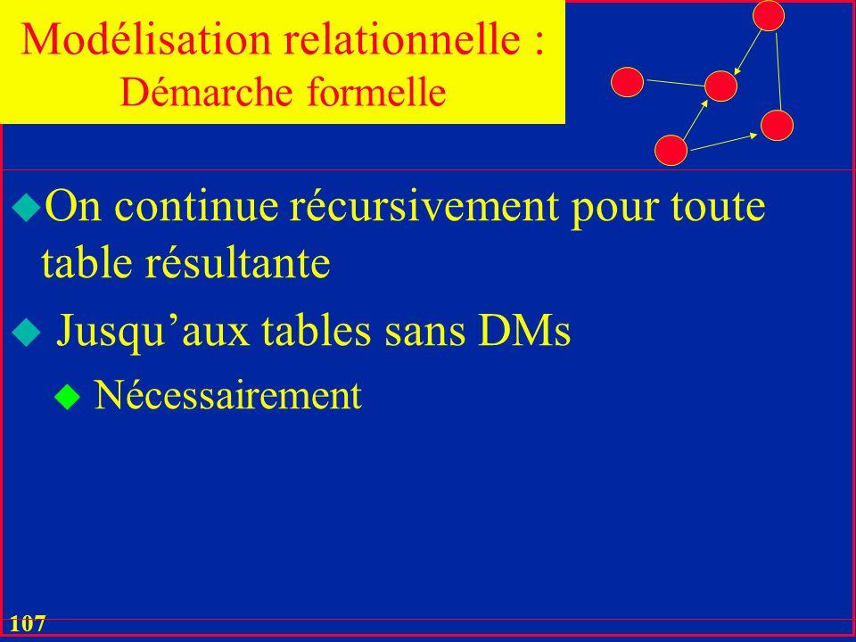 106 u Le Théorème de Fagin décompose sans pertes une table u En commençant par U u Chaque décomposition u Liquide une DM u Remplace une table R par deux projections R1 et R2 telles que R = R1 Join R2 u La recomposition passe donc par la jointure naturelle Modélisation relationnelle : Démarche formelle