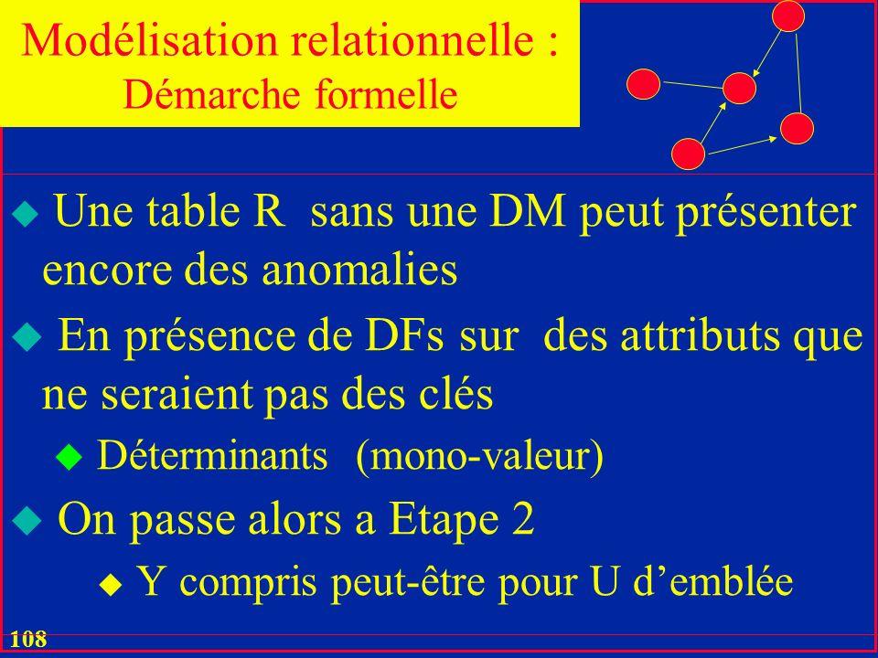 107 u On continue récursivement pour toute table résultante u Jusquaux tables sans DMs u Nécessairement Modélisation relationnelle : Démarche formelle