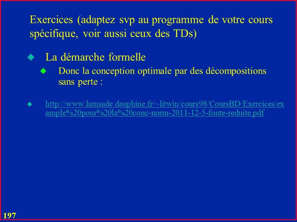 196 UML -> XML 123 Jean Dupont Ski, Tennis, Voile Jean, Paul Sinbade, Café Court, Gargote Personne P# Nom Prénom Nom de famille Hobbies 0..10 Amis 0..10 Restaurants 0..10 Plusieurs SGBD relationnels offrent les interfaces XML Type dentité UML Une entité XML (dite document)