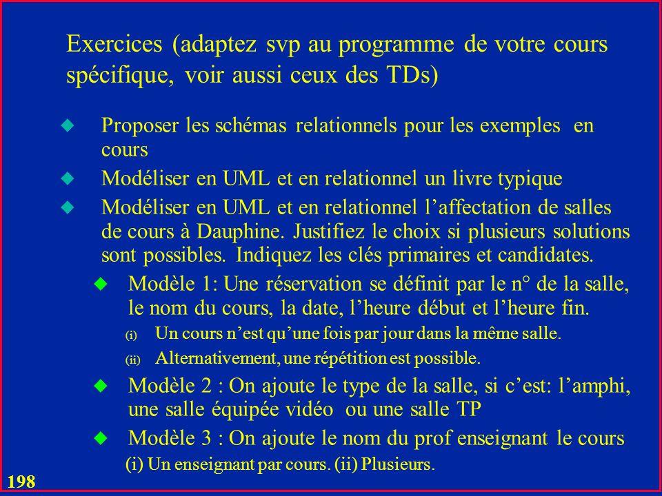 197 Exercices (adaptez svp au programme de votre cours spécifique, voir aussi ceux des TDs) u La démarche formelle u Donc la conception optimale par des décompositions sans perte : u http://www.lamsade.dauphine.fr/~litwin/cours98/CoursBD/Exercices/ex ample%20pour%20la%20conc-norm-2011-12-5-fonte-reduite.pdf http://www.lamsade.dauphine.fr/~litwin/cours98/CoursBD/Exercices/ex ample%20pour%20la%20conc-norm-2011-12-5-fonte-reduite.pdf
