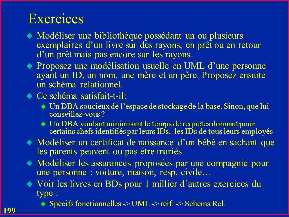 198 Exercices (adaptez svp au programme de votre cours spécifique, voir aussi ceux des TDs) u Proposer les schémas relationnels pour les exemples en cours u Modéliser en UML et en relationnel un livre typique u Modéliser en UML et en relationnel laffectation de salles de cours à Dauphine.
