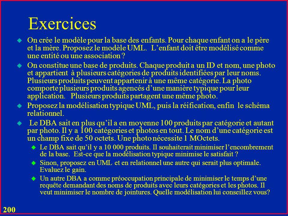 199 Exercices u Modéliser une bibliothèque possédant un ou plusieurs exemplaires dun livre sur des rayons, en prêt ou en retour dun prêt mais pas encore sur les rayons.