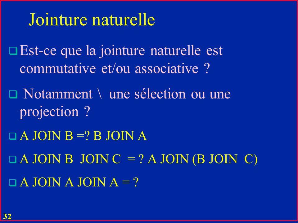 31 Jointure naturelle u La jointure A JOIN B de deux tables A (X, Y) et B (Z, Y) est la table C avec les attributs : C (X, Y, Z) et avec tous les tuples (X:x, Y:y, Z:z ) tels que (x, y) est dans A et (y, z) est dans B u pas dautres tuples u X, Y, Z peuvent être composés