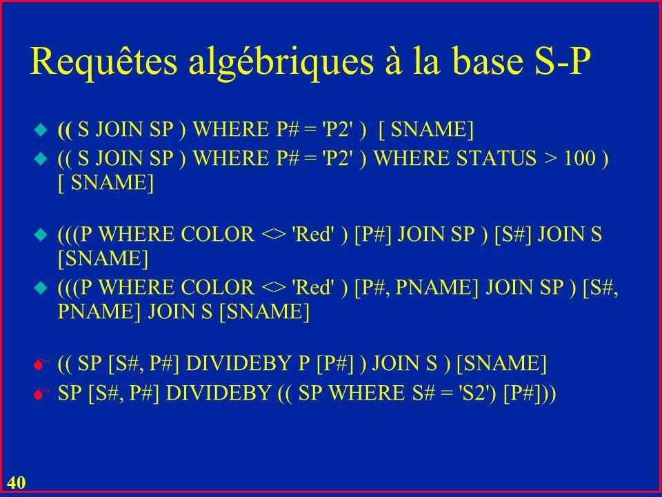 39 u Produit cartésien u R1 TIMES R2 u Pas de contraintes sur les types dattributs u Ni sur leur nombre u Opération très chère que lon évite à tout prix Op.