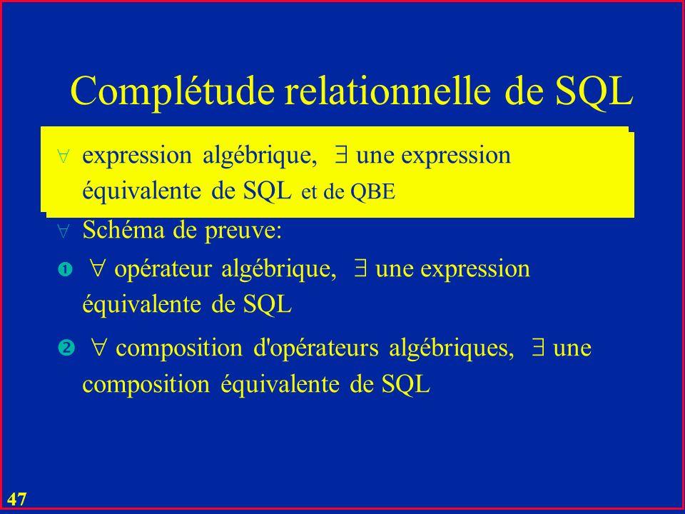 46 Opérations relationnelles (SQL) Voit (Im#, Pref, Mod, Couleur) Amende (A#, I#, Nom, Addr, Payé) u Update Amende Set Payé = 10-01-96 where A# = 123 ; u Create View En-instance As Select * From Amende, Voit Where Payé Is Null and Amende.I# = Voit.Im# ;