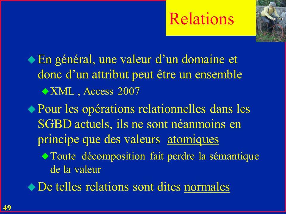 48 u Une relation réelle est définie à partir des valeurs de ses attributs u Une relation virtuelle (vue) est dérivée (héritée) par une opération relationnelle à partir de relations réelles ou de vues Relations