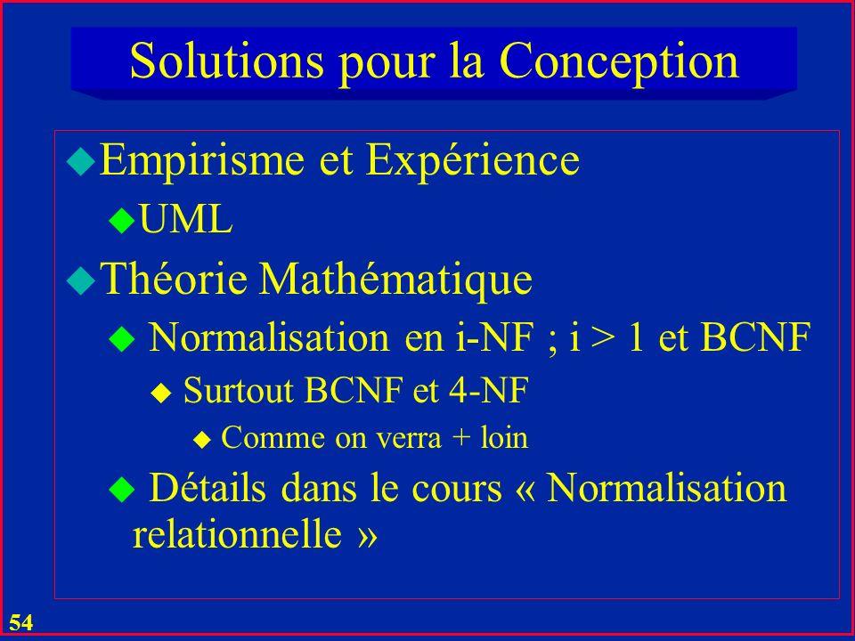 53 Normalization en 1-NF u Explosion combinatoire de la taille de la table .