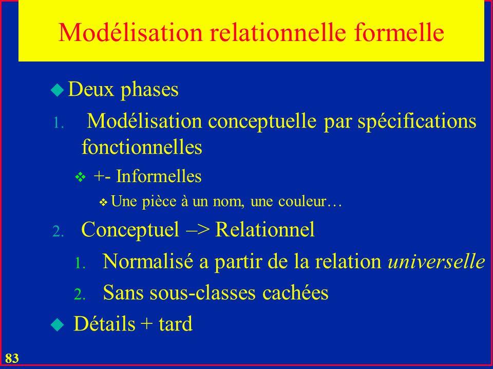 82 Modélisation relationnelle semi-formelle u Trois phases 1.