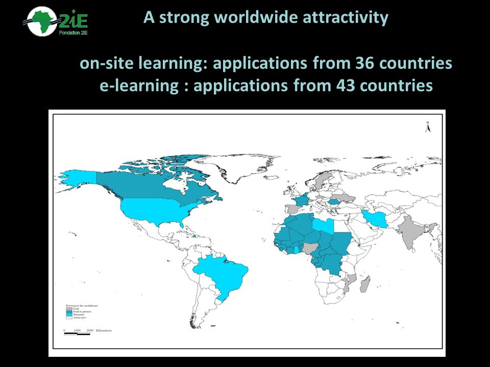 A strong worldwide attractivity on-site learning: applications from 36 countries e-learning : applications from 43 countries