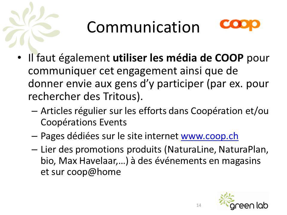 Communication Il faut également utiliser les média de COOP pour communiquer cet engagement ainsi que de donner envie aux gens dy participer (par ex.