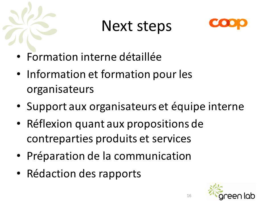 Next steps Formation interne détaillée Information et formation pour les organisateurs Support aux organisateurs et équipe interne Réflexion quant aux propositions de contreparties produits et services Préparation de la communication Rédaction des rapports 16