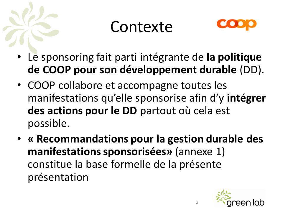 Le sponsoring fait parti intégrante de la politique de COOP pour son développement durable (DD).